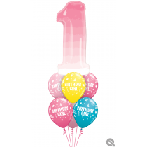 Ramo de globos numero UNO degradado rosa Happy birthday