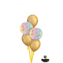 Ramo de  globos Happy birthday degradado pastel dorado