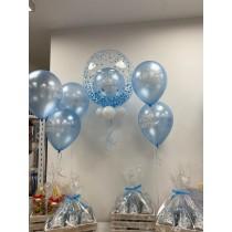 Ramo de globos burbuja Bautizo azul