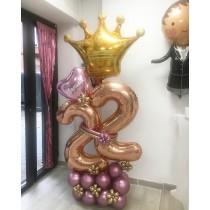 Ramo de globos bouquete corona numero
