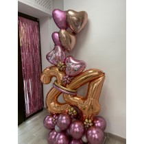 Ramo de globos bouquet color rosa dorado numero