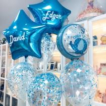 Ramo de globos Baby shower azul confeti