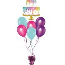 Ramo de globos tarta arcoiris