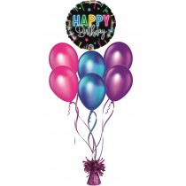 Ramos De Globos Happy Birthday NEON ROSA