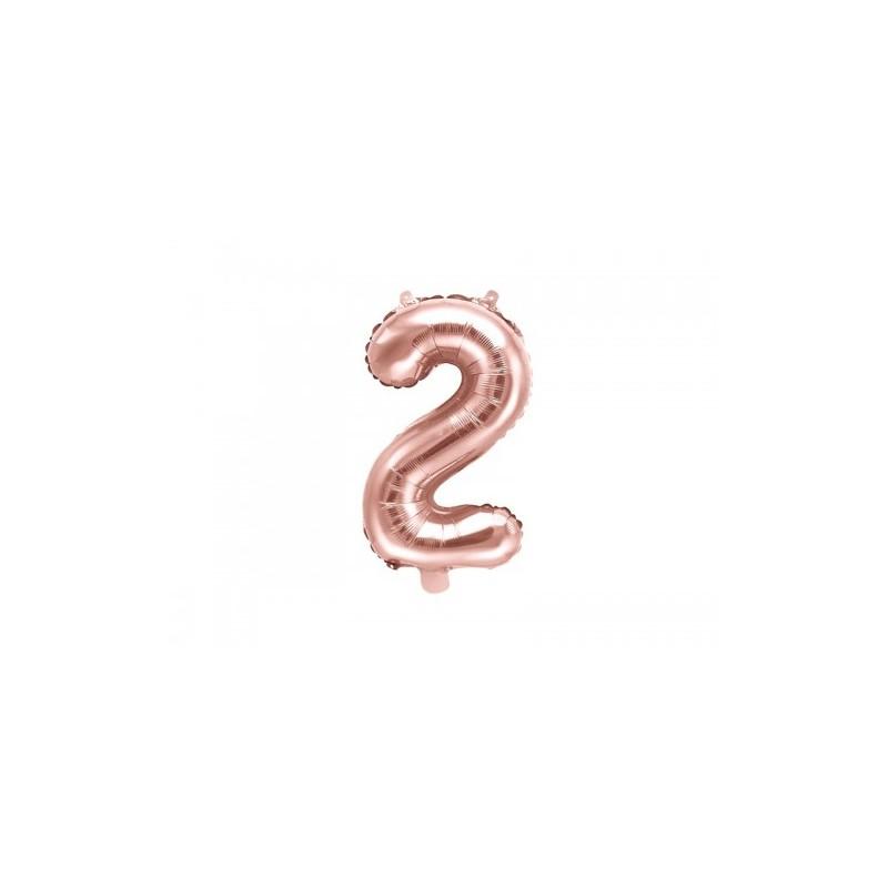 Globo numeral de 86 cm metalizado empacado color oro rosa - 2