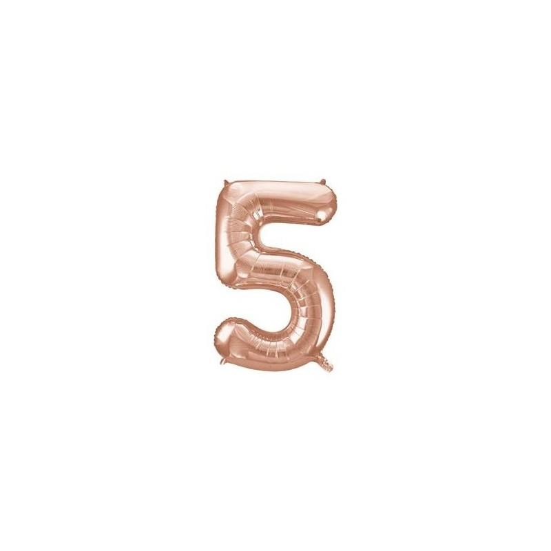 Globo numeral de 86 cm metalizado empacado color oro rosa - 5