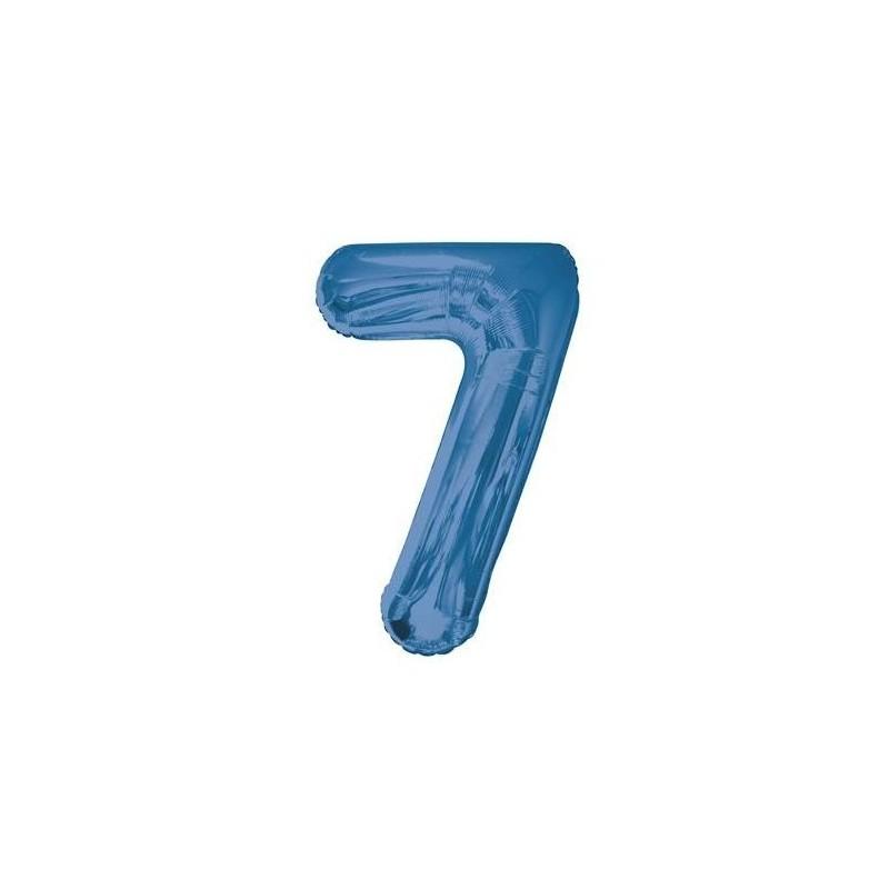 Globo de foil 34 pulg (86,36 cm) Azul Glitz numero - 7
