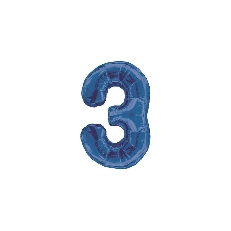 Globo de foil 34 pulg (86,36 cm) Azul Glitz numero - 3