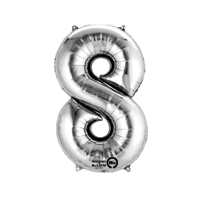 Globo Número 8 Plateado - Aluminio 34 pulgadas