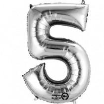Globo Número 5 Plateado - Aluminio 34''