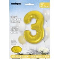 globo metalizado empacado número de 34 pulgadas/ 86,36 cm oro - 3