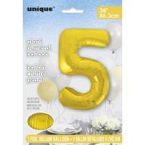 globo metalizado empacado número de 34 pulgadas/ 86,36 cm oro - 5