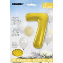 globo metalizado empacado número de 34 pulgadas/ 86,36 cm oro - 7