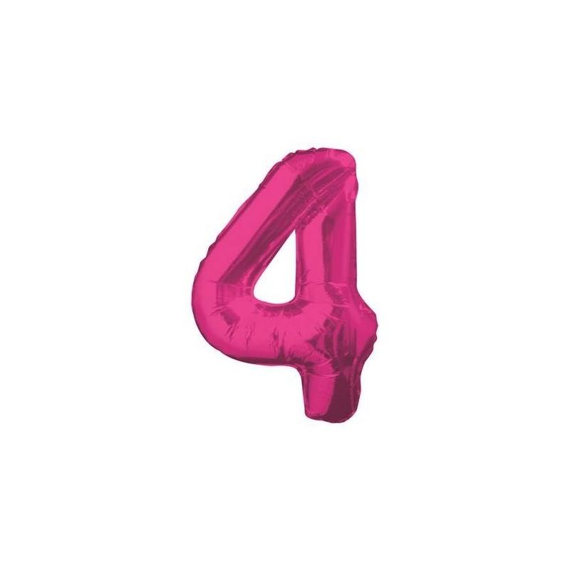 Globo numeral de 86 cm metalizado empacado color fucsia- 4