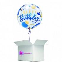 Globo en caja sorpresa burbuja happy birday azul