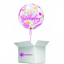 Globo en caja sorpresa burbuja happy birday rosa
