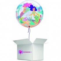 Globo en caja sorpresa burbuja la sirenita