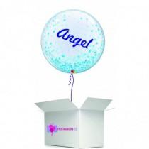 Globo en caja sorpresa burbuja personalizada azul