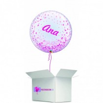 Globo en caja sorpresa burbuja personalizada rosa