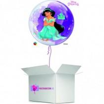 Globo en caja sorpresa burbuja princesa Jasmine