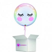 Globo en caja sorpresa burbuja unicornio ojos