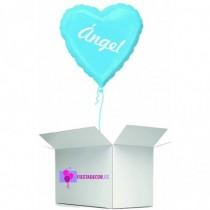Globo en caja sorpresa corazon azul claro