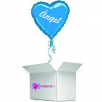 Globo en caja sorpresa corazon azul oscuro