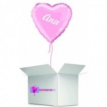 Globo en caja sorpresa corazon rosa claro