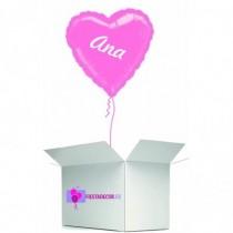 Globo en caja sorpresa corazon rosa