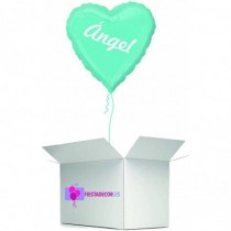 Globo en caja sorpresa corazon turquesa