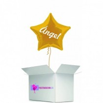 Globo en caja sorpresa estrella amarillo