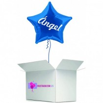 Globo en caja sorpresa estrella azul