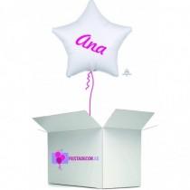 Globo en caja sorpresa estrella blanca