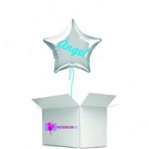 Globo en caja sorpresa estrella plata