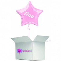 Globo en caja sorpresa estrella rosa claro