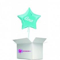 Globo en caja sorpresa estrella turquesa