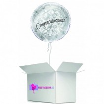 Globo en caja sorpresa felicitacion plata