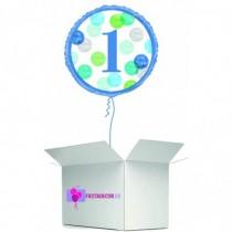 Globo en caja sorpresa happy 1 year azul