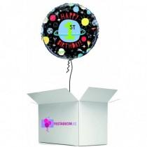 Globo en caja sorpresa happy 1 year planetas