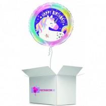 Globo en caja sorpresa happy birday unicornio
