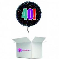 Globo en caja sorpresa redondo 40 cumpleaños