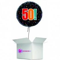 Globo en caja sorpresa redondo 50 cumpleaños