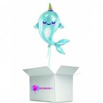 Globo en caja sorpresa redondo delfin unicornio