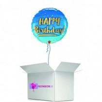 Globo en caja sorpresa redondo happy birthday azul