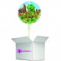 Globo en caja sorpresa redondo happy birthday dinosaurio