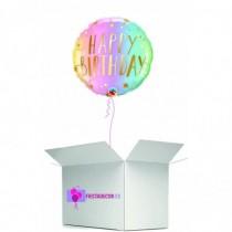 Globo en caja sorpresa redondo happy birthday metalizado rosado