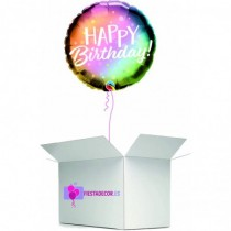 Globo en caja sorpresa redondo happy birthday metalizado