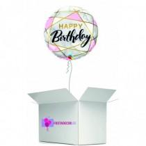 Globo en caja sorpresa redondo happy birthday rosa y blanco