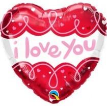 Globo de foil 18 pulg. (45,7cm) Corazón. I Love You Doodle Loops