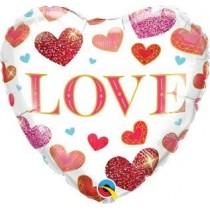 Globo de foil 18 pulg. (45,7cm) Corazón. Love Jewel Hearts